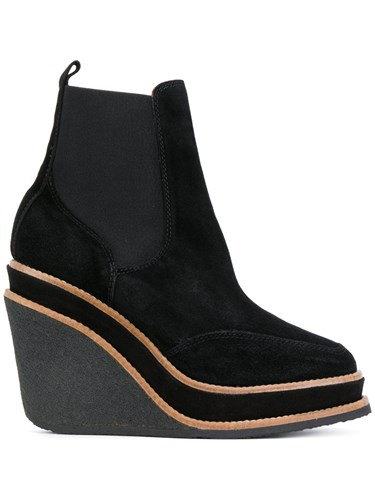 Castaner Wedged Boots Leather Suede Rubber Black 8wL0Xz