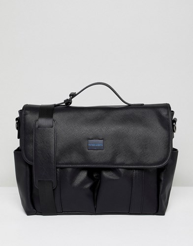 Peter Werth Etched Messenger Bag In Black Black pocjYT