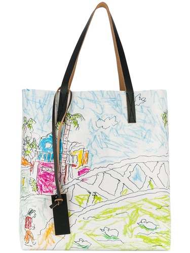 Marni Shopper Tote Bag Polyester White swFjr