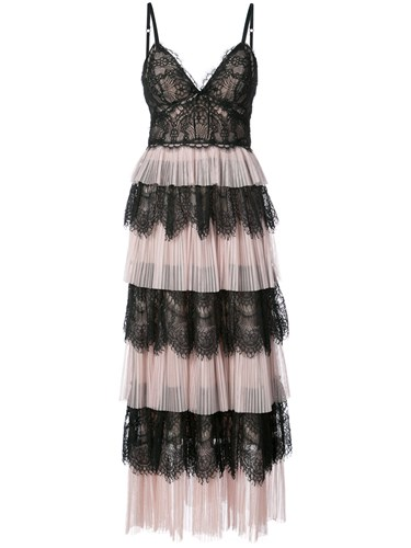 Marchesa Notte Ruffle Lace Dress Pink And Purple phgrPPxq