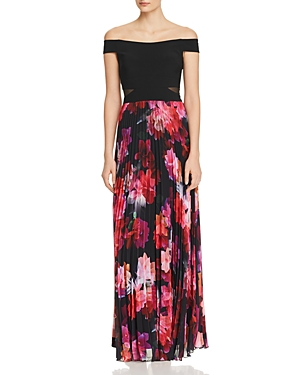 Aqua Off The Shoulder Pleated Chiffon Gown 100 Exclusive Black Pink UKgQM0T