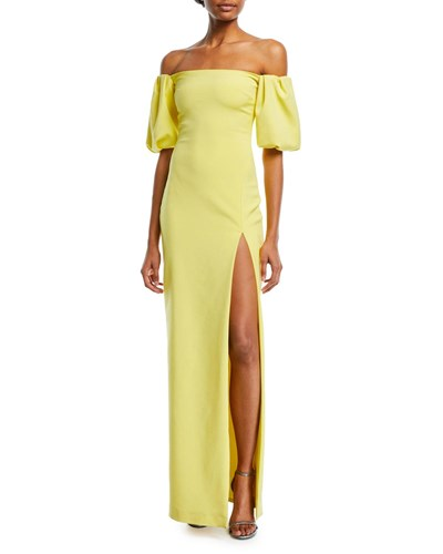 Cushnie et Ochs Reina Strapless High Slit Fitted Cocktail Dress Yellow hI1lKVdhUx
