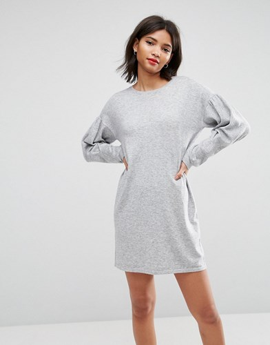 Asos Knitted Dress With Puff Sleeves Grey juphj9l