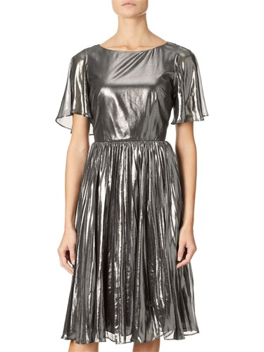 Adrianna Papell Pleated Metallic Foil Dress Gunmetal Black PthCm3R2