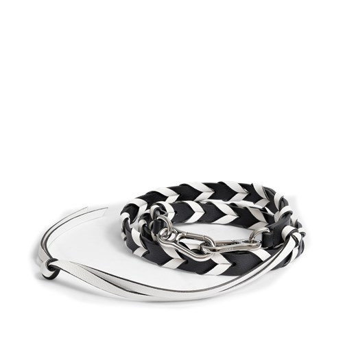 Loewe Braided Thin Bag Strap In Black And White Classic Calfskin KeRE6vtRW