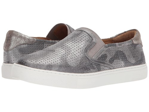 Trask Lillian Pewter Camo Metallic Suede Women's Slip On Shoes Gray xNvAtpqN