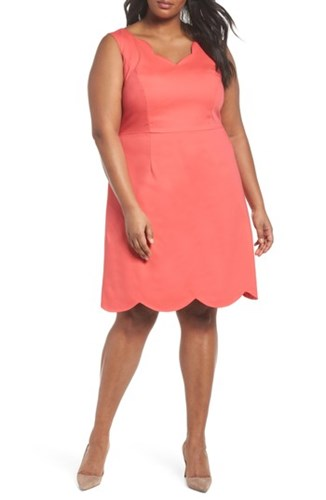 Adrianna Papell Plus Size Women's Scalloped A Line Dress Strawberry Pink mlAwMVt