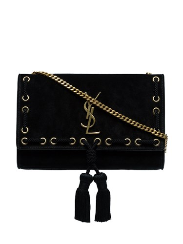 Saint Laurent Black Kate Medium Suede Leather Shoulder Bag KYF963ppv