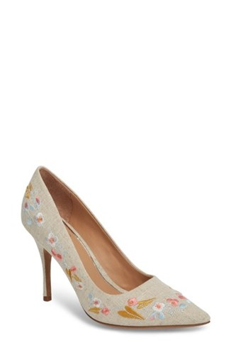 Linea Paolo Embroidered Pump Natural Embroidered Fabric TYIgPgxs