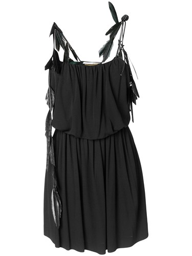 Saint Laurent Feather Trim Strappy Dress Black O3Rcijdrp