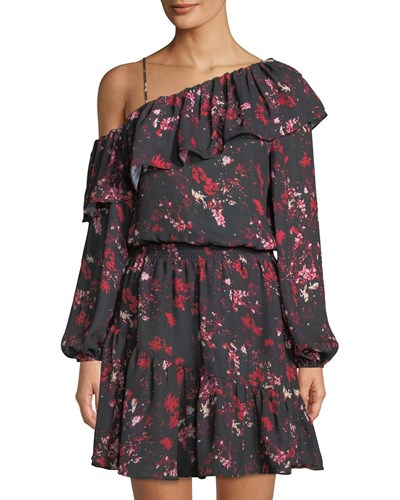 Parker Asymmetric Sleeve Floral Print Dress Multi Pattern YsSOs5