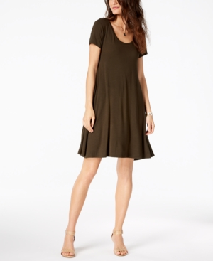 Style&co. Style Co Short Sleeve A Line Dress Created For Macy's Evening Olive Eq4Pzul3v