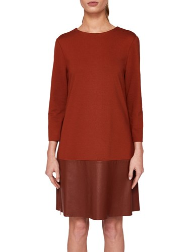 Ted Baker Olyie Leather Zip Detail Dress Brown yC9VwHq