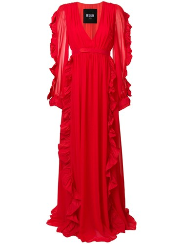MSGM Ruffled Neck Red Gown Plunge wr8Owqx0