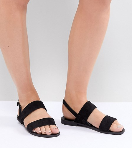 New Look Wide Fit Suede Double Strap Flat Sandals Black NPCDag2t