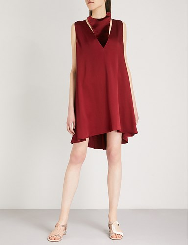 Valentino Halterneck Velvet And Satin Crepe Swing Dress Dark Cremisi ne91DavAd