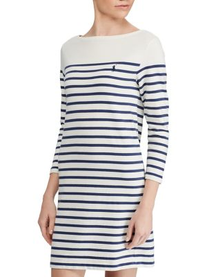 Polo Ralph Lauren Striped Cotton Dress Cream Blue cjRFM9