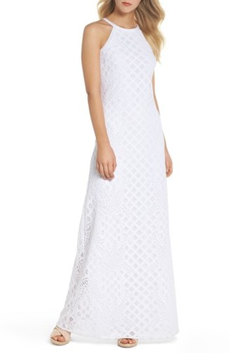 Lilly Pulitzer Pearl Maxi Dress Resort White Pineapple Lace S8o4m1
