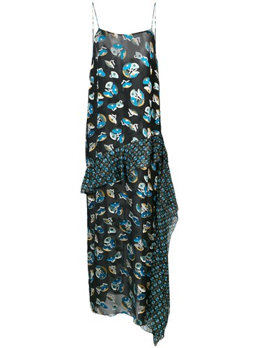 Anna Sui All Over Print Maxi Dress Silk Rayon Black lDPIN