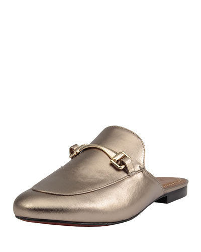 Carrano Bertha Metallic Leather Mule Flat Gold z0zku