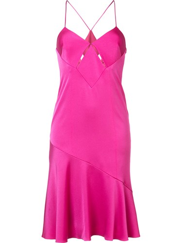 Galvan Flared Skirt Dress Women Polyester Triacetate 38 Pink Purple n3Q9wy
