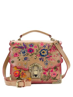 Patricia Nash Prairie Rose Embroidery Stella Leather Crossbody Bag Sand NvaWz