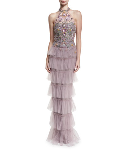 Marchesa Jeweled Tulle Halter Gown Lilac rDUv3dgOl