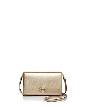 Tory Burch Mcgraw Flat Leather Wallet Crossbody Gold Gold EO9f4VY