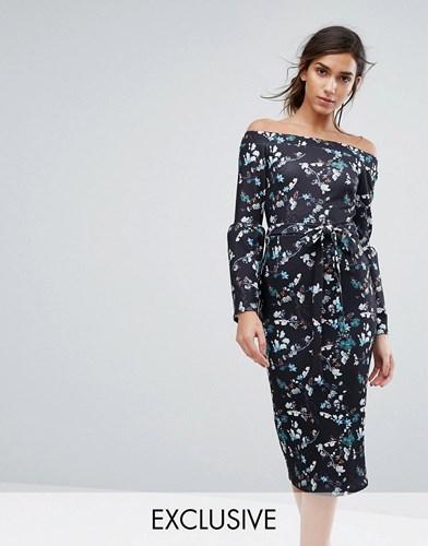 Silver Bloom Bardot Midi Dress In Ditsy Floral With Exaggerated Sleeve Midnight Floral Multi B8W4d