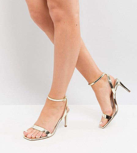Asos Half Time Wide Fit Barely There Heeled Sandals Champagne Gold 1LlF39w