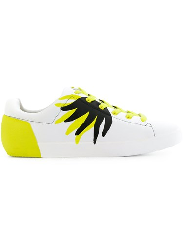 Ash Patterned Low Top Sneakers Leather Rubber White A02s4OLUa