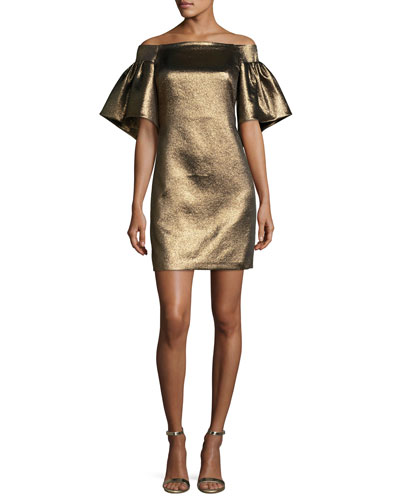 Halston Off The Shoulder Metallic Full Sleeve Cocktail Dress Gold Glitter fGSpmzYZt