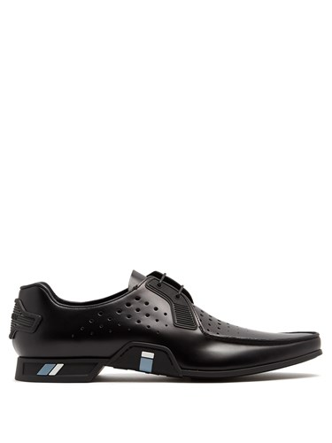Prada Perforated Leather Derby Shoes Black Dzmtor3