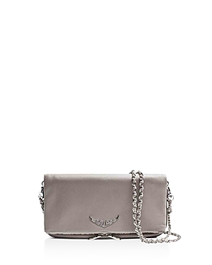 Zadig & Voltaire Rock Clyde Leather Crossbody Clutch Light Gray Silver bjdik