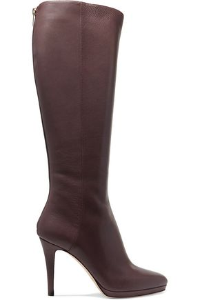 Jimmy Choo Textured Leather Knee Boots Dark Brown SzY0YNAnuA