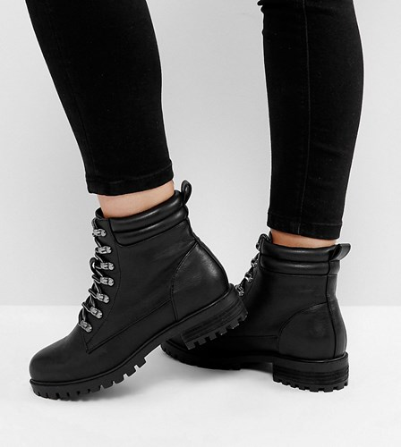 Asos Absinthe Wide Fit Lace Up Ankle Boots Black 7WjXKQKU5p