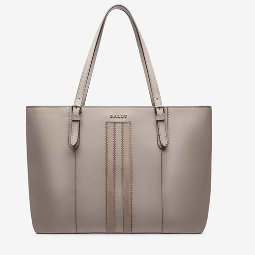 Bally Women's Split Bovine Leather Large Tote Bag In Wheat Grey x4cNC8Y