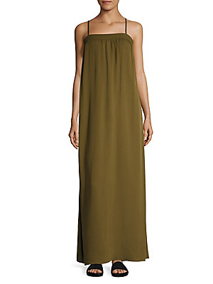 Vince Silk Embroidered Maxi Gown Olive 8uFYM
