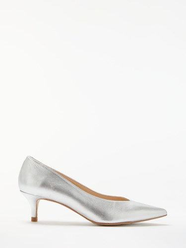 John Lewis Alexa V Cut Court Shoes Silver Leather BikHHbH1