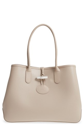 Longchamp Roseau Leather Shoulder Tote Grey Clay 1bjICJWHPy