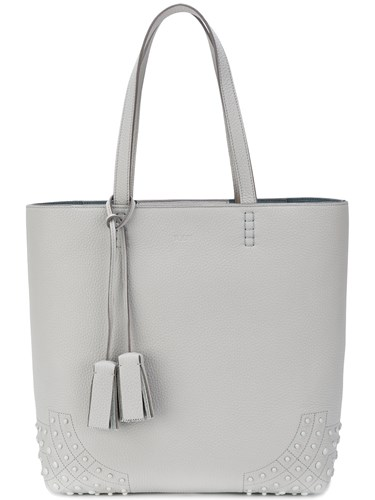 Tod's Amr Soft Tote Leather Grey zr3ZW