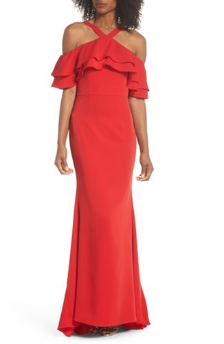 Jarlo Dianne Ruffle Top Halter Gown Red lqz7o7aU