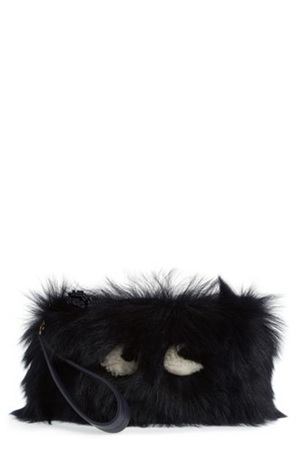 Anya Hindmarch Creeper Genuine Shearling Clutch Blue Ink l0GTIUlE0H