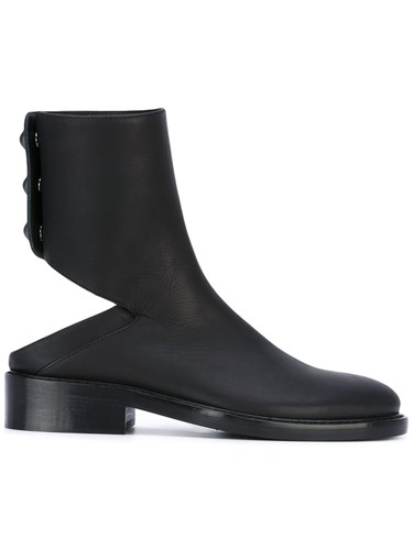 Ann Demeulemeester Cut Out Ankle Boots Women Leather 38 Black zinFgI
