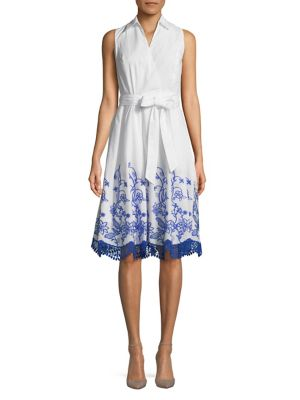 Ivanka Trump Collared Floral Wrap Dress White Blue muUEygZSl9