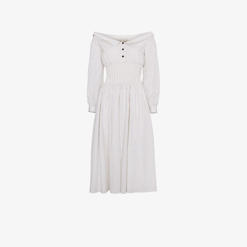 Sandy Liang Marge Off Shoulder Cotton Dress White r1CA4KrPbz