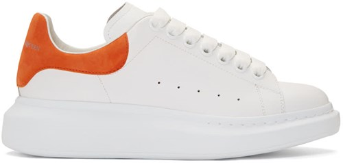 Alexander McQueen White And Orange Oversized Sneakers M9zyi