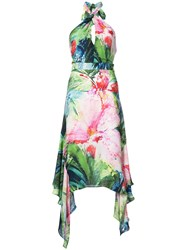 Josie Natori Sunset Palms Halter Dress Multicolour