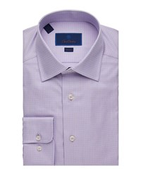 David Donahue Slim Fit Tonal Check Dress Shirt Pink