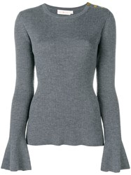 Tory Burch Knitted Liv Sweater Grey